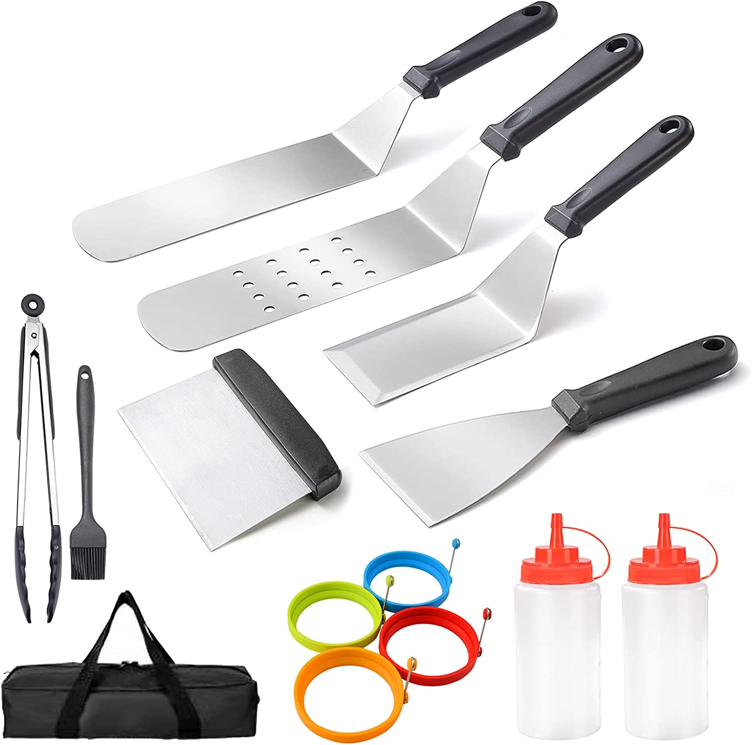 ULEE Griddle Accessories Compatible with Blackstone, Premium Flat Top Grill Accessories, Perfect Griddle Spatula Set for Outdoor BBQ, Teppanyaki and Camping