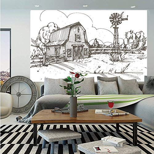 SoSung Windmill Decor Removable Wall Mural,Rustic Barn Farmhouse Hand Drawn Illustration Countryside Rural Meadow Decorative,Self-Adhesive Large Wallpaper for Home Decor 66x96 inches,Taupe White