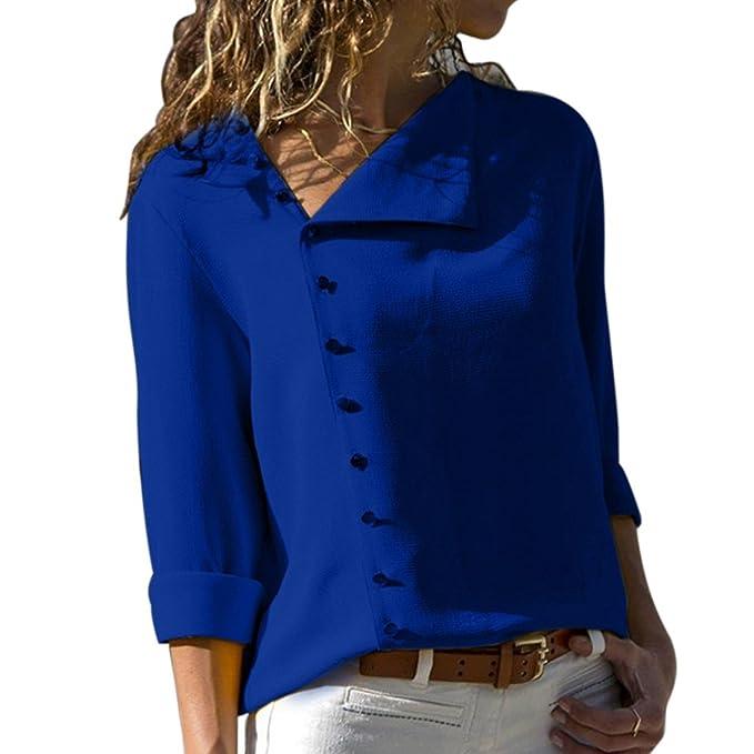 Moichien Mujer Blusa de Estilo OL de Manga Larga botón Abajo túnica Camisa Tops
