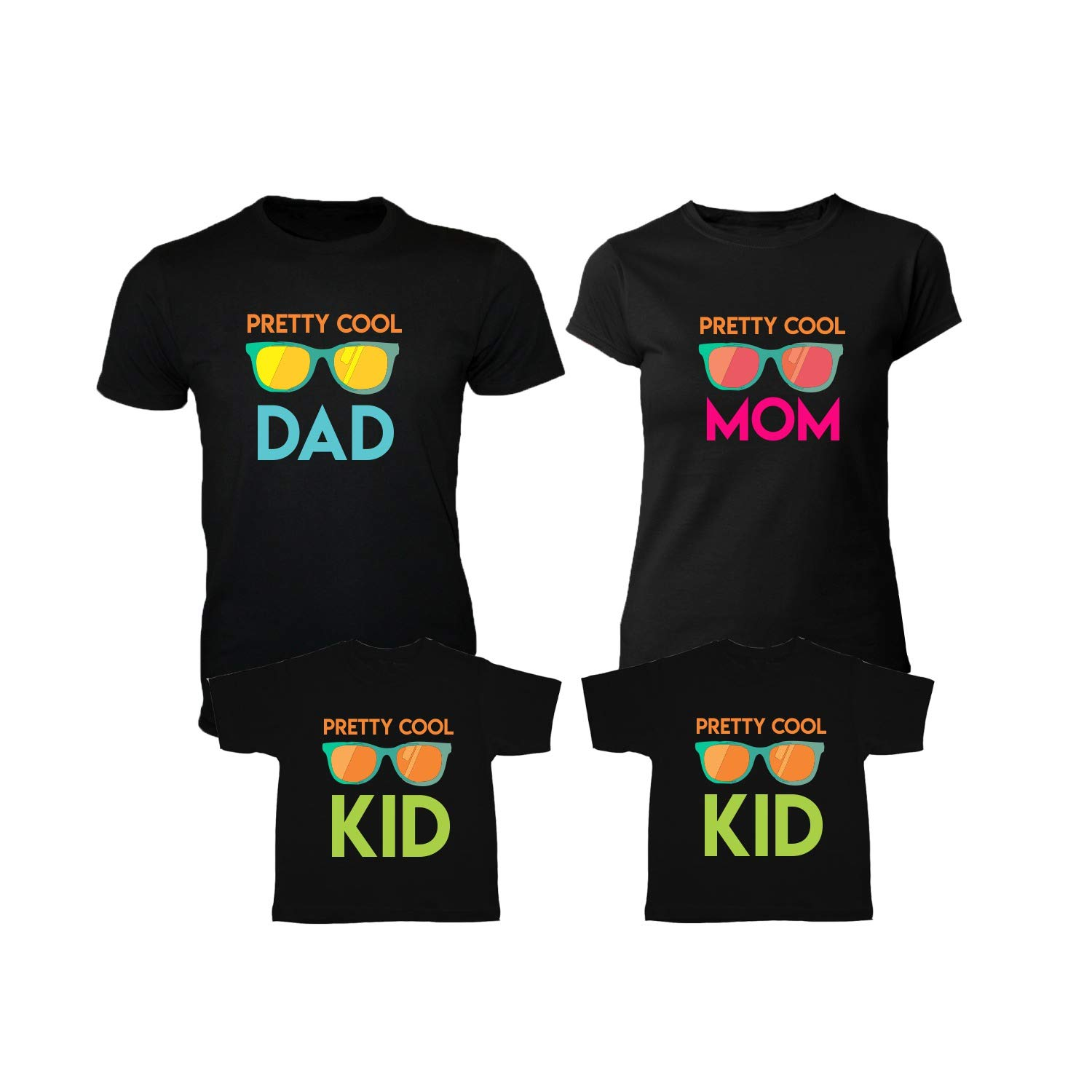 40b37b69 YaYa cafe Cool Matching Family T-Shirts for Mom, Dad and 2 Kids Set of 4 -  Black: Amazon.in: Clothing & Accessories