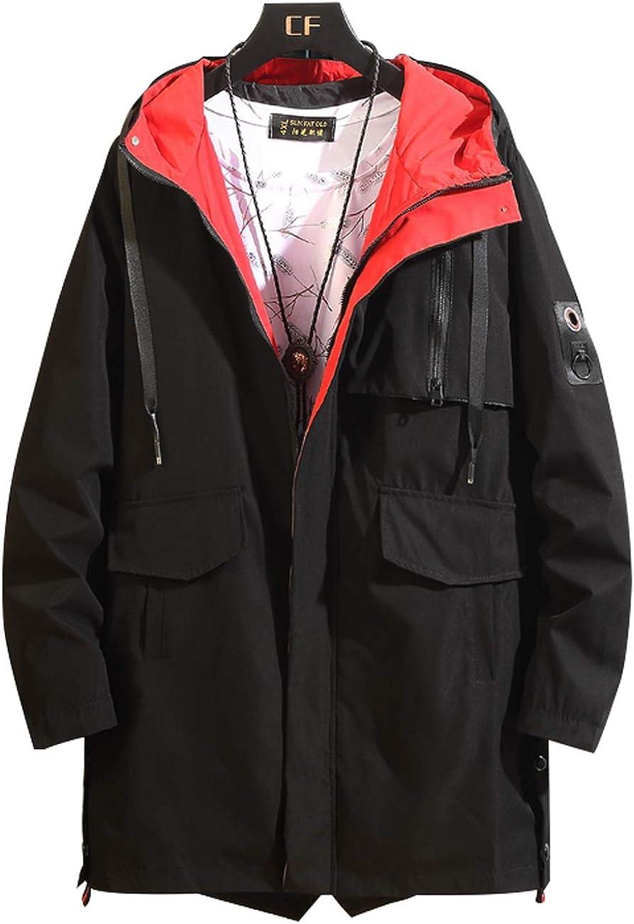 Zoulee Mens Zip Waterproof Jacket Lightweight Long Rain Jacket Outdoor Hooded Trench