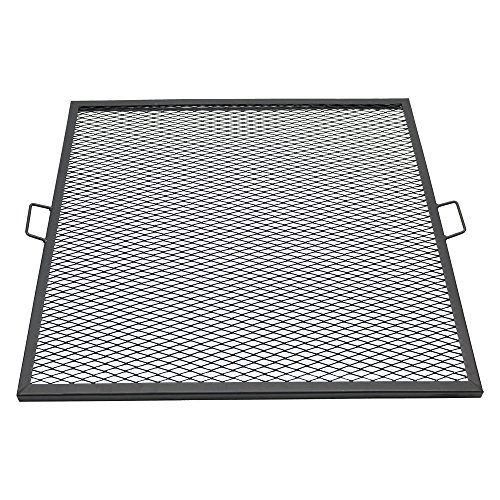 Sunnydaze X-Marks Fire Pit Cooking Grill Grate, Outdoor Square BBQ Campfire Grill, Camping Cookware, 37.5 Inch