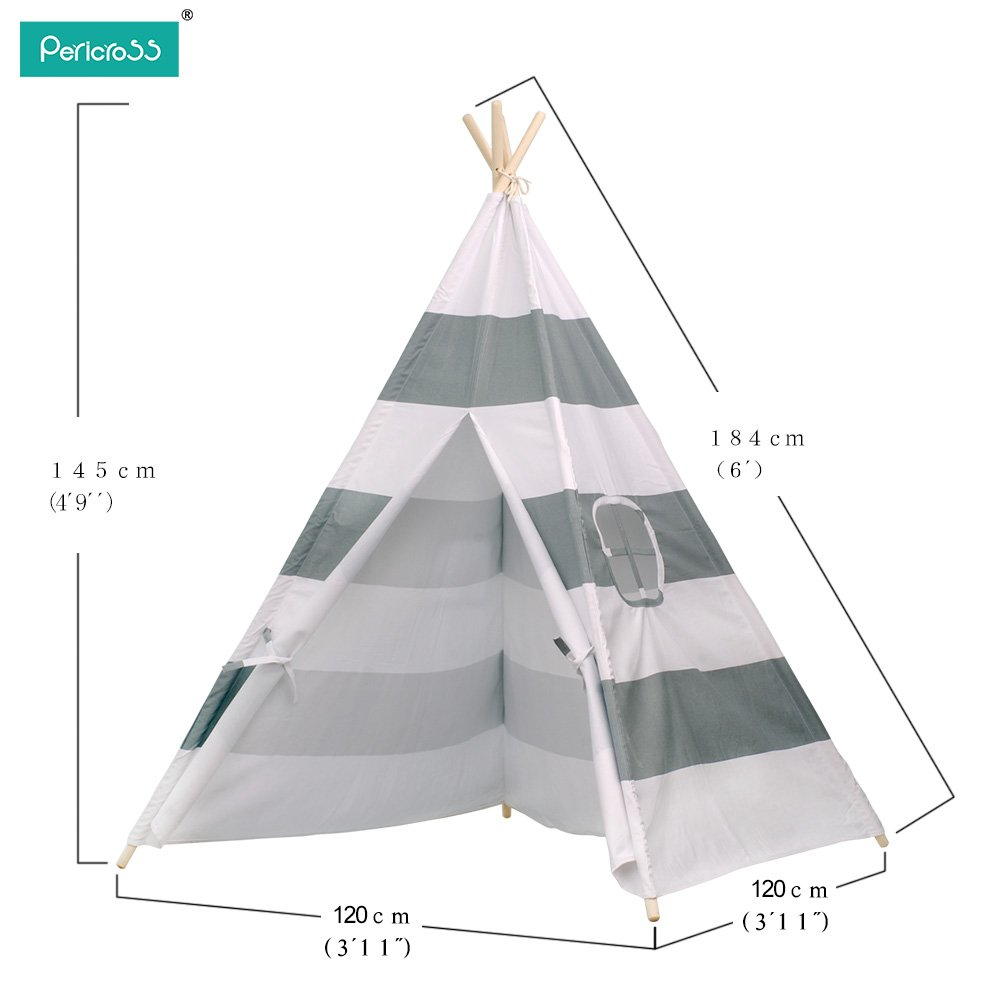 Amazon.com Pericross Kids Teepee Tent Indian Play Tent Childrenu0027s Teepee Tent (Grey Stripes) Toys u0026 Games  sc 1 st  Amazon.com & Amazon.com: Pericross Kids Teepee Tent Indian Play Tent Childrenu0027s ...