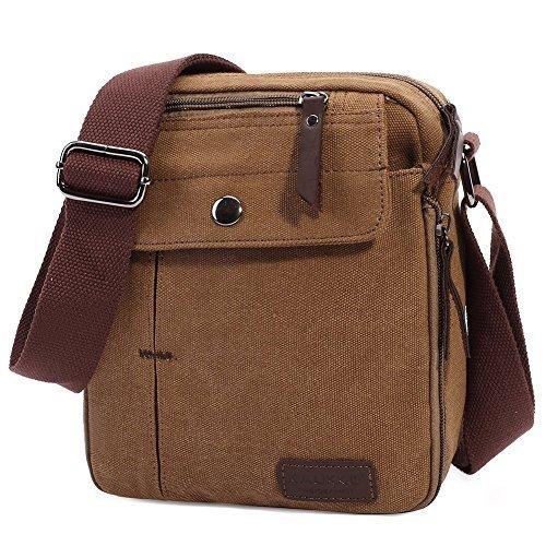 [KAUKKO Fashion Retro Canvas Bag Mens Canvas Rucksack Elegant Crossbody Classic Wallet Bag Khaki] (Elegant Khaki)