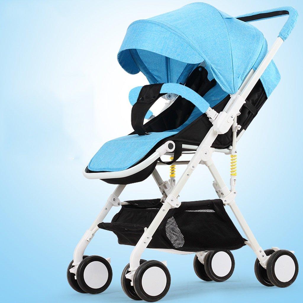JIANXIN 赤ちゃんのベビーカーは座ることができ、うそをつくる超軽量ポータブル折りたたみシンプルな高 - 風景の赤ちゃんの子供のトロリーの傘 (色 : 青)   B07F7RK9H6