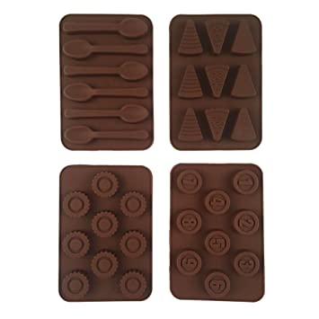 Moldes de caramelo de chocolate de silicona, Sunbeter 4 paquetes de moldes para hornear antiadherente