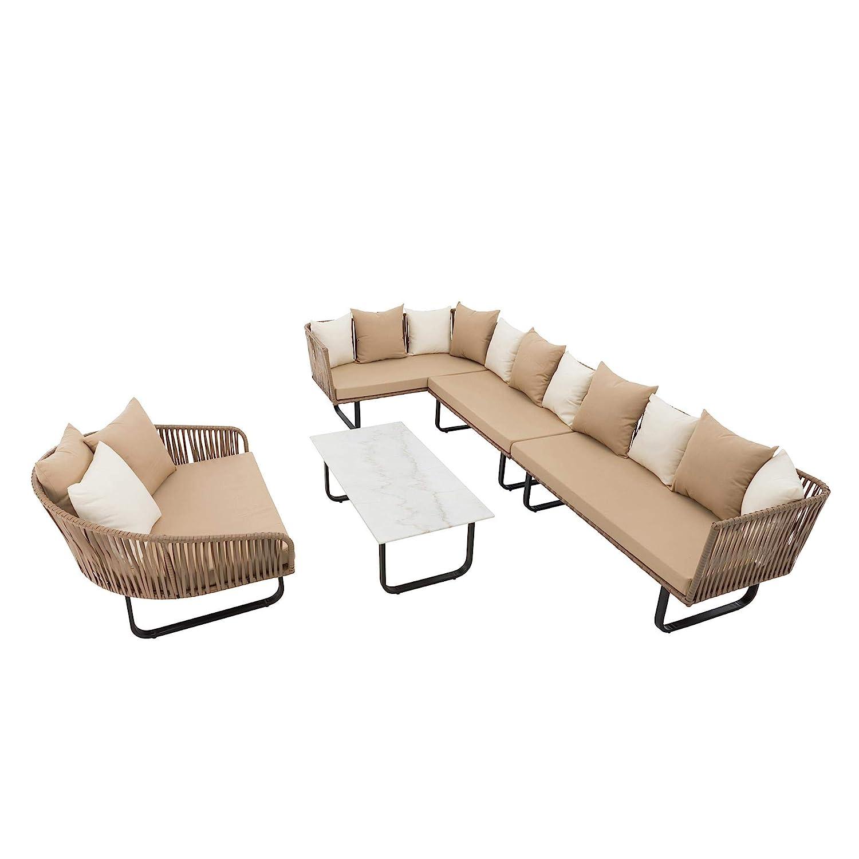 ESTEXO Polyrattan Lounge Set beige, Schnurgeflecht in Seiloptik, 23-teilig, inklusive Tisch mit Platte in Marmoroptik