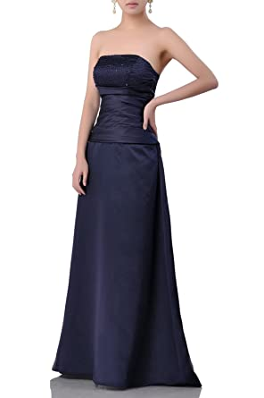 4cb45172d044 Adorona Natrual Satin A-line Beading Long Strapless Special Occasion  Bridesmaid Dress at Amazon Women's Clothing store: