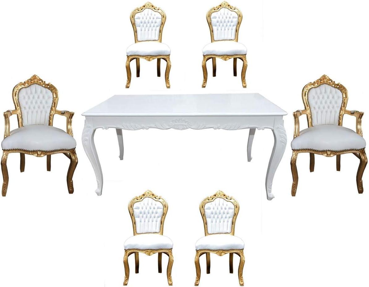 Casa Padrino Juego de Comedor Barroco Blanco/Dorado - Mesa de ...