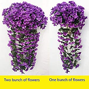 MARJON FlowersArtificial Flowers, 1 Bunches Fake Flowers Artifical Violet Hanging Garland Ivy Vine Floral Plant Leaves Wedding Garland for Home Party Garden Wall Floral Decor Decoration 2