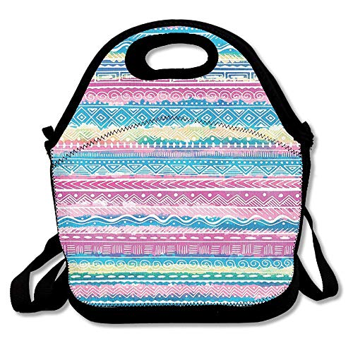 Moyhza Watercolor Tie Dye Effect Art Stripes Aquatic Theme Bohemian Aztec Print Insulated Lunch Box with Zipper,Carry Handle and Shoulder Strap for Adults Or Kids Black One -