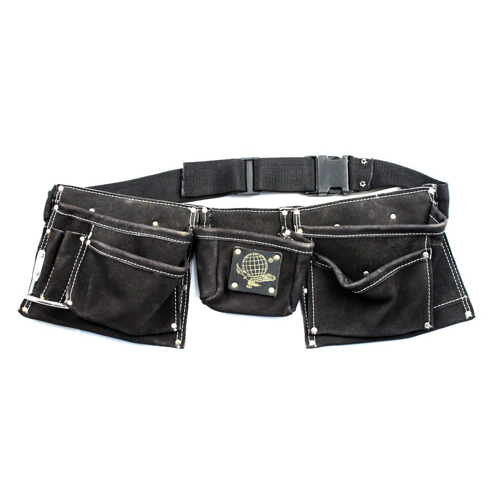 9 Pocket Tool & Nail Pouch Black Heavy Duty Leather Suede Tool Belt Fits Hammer