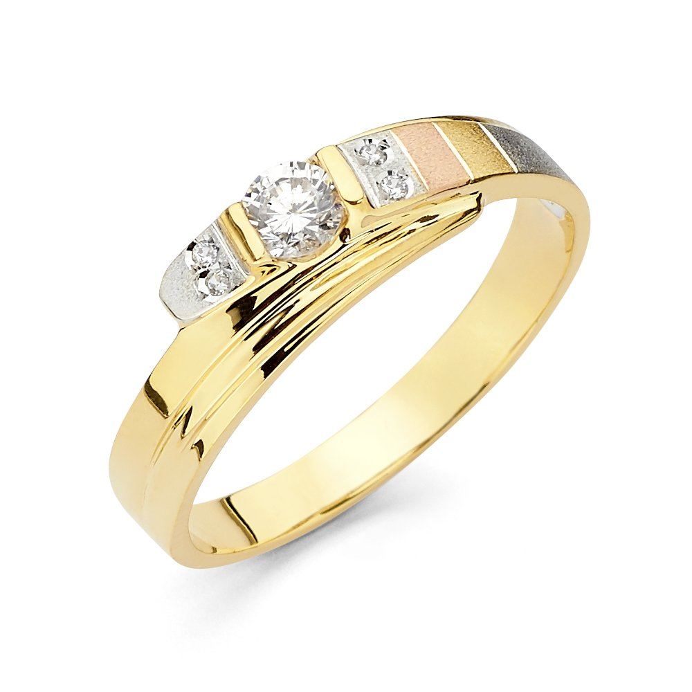 Ioka Jewelry - 14K Tri Color Solid Gold Cubic Zirconia CZ Men's Fancy Wedding Band - size 9