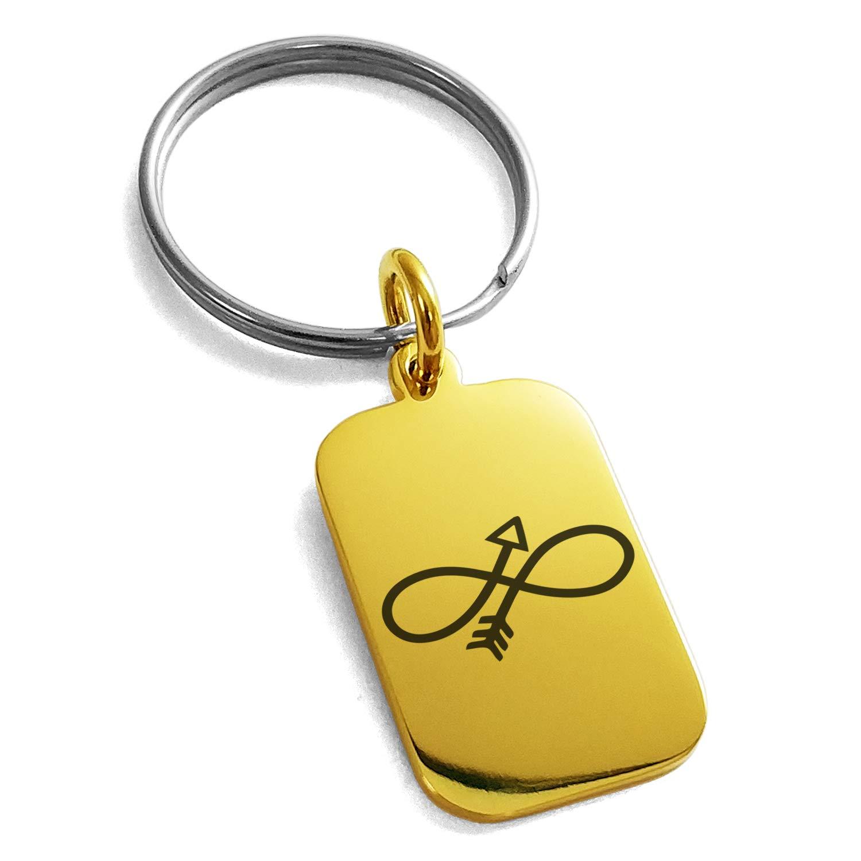 Tioneer ステンレススチール インフィニティアロー 刻印 小さな長方形 ドッグタグ チャーム キーチェーン キーリング  ゴールド B07GVQHLFF
