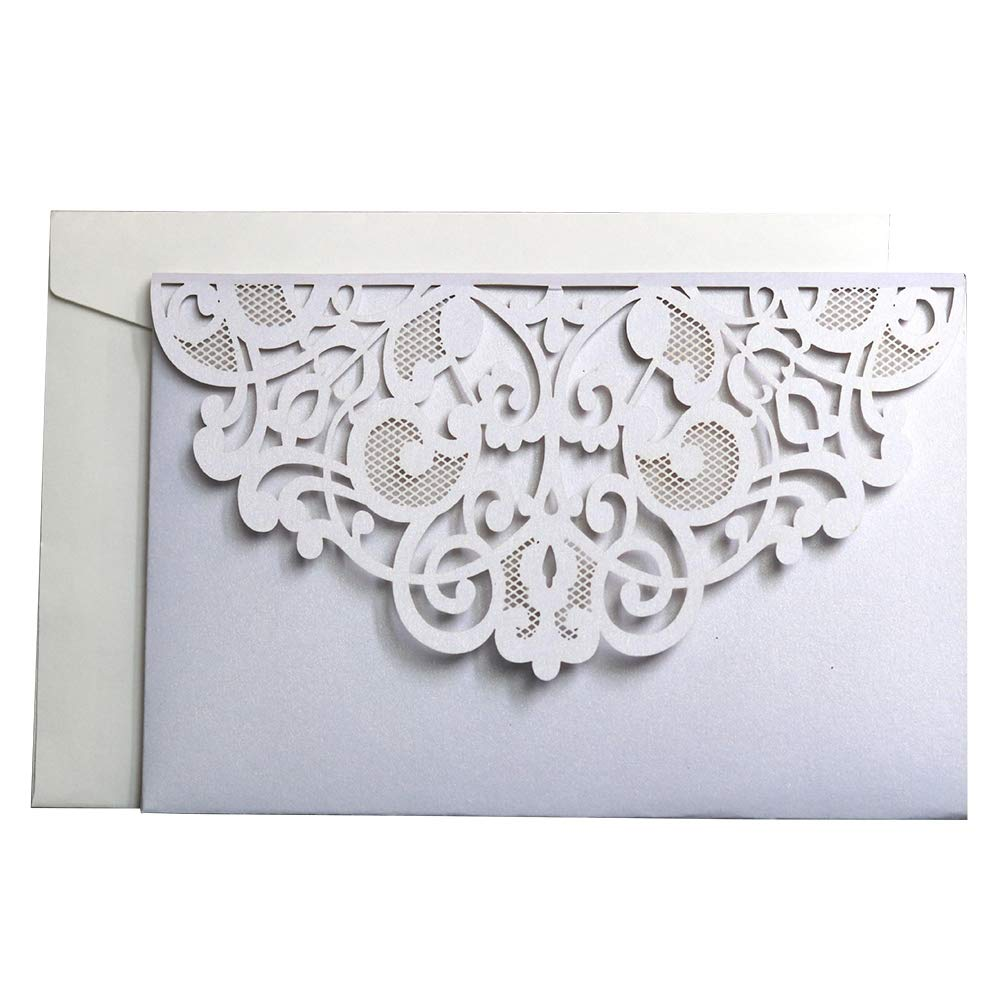10x Laser Cut Wedding Invitations Cards with Lace Sleeve Lace Flowers Engagement Birthday Bridal Shower Baby Shower Graduation Party Favors (White) Sue Supply
