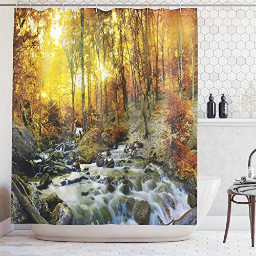 (Ambesonne Lake House Decor Collection, Autumn Time River Creek Forest Falling Leaves Rocks Trees Foliage Sunbeams Branches, Polyester Fabric Bathroom Shower Curtain, 84 Inches Extra Long, Multi)
