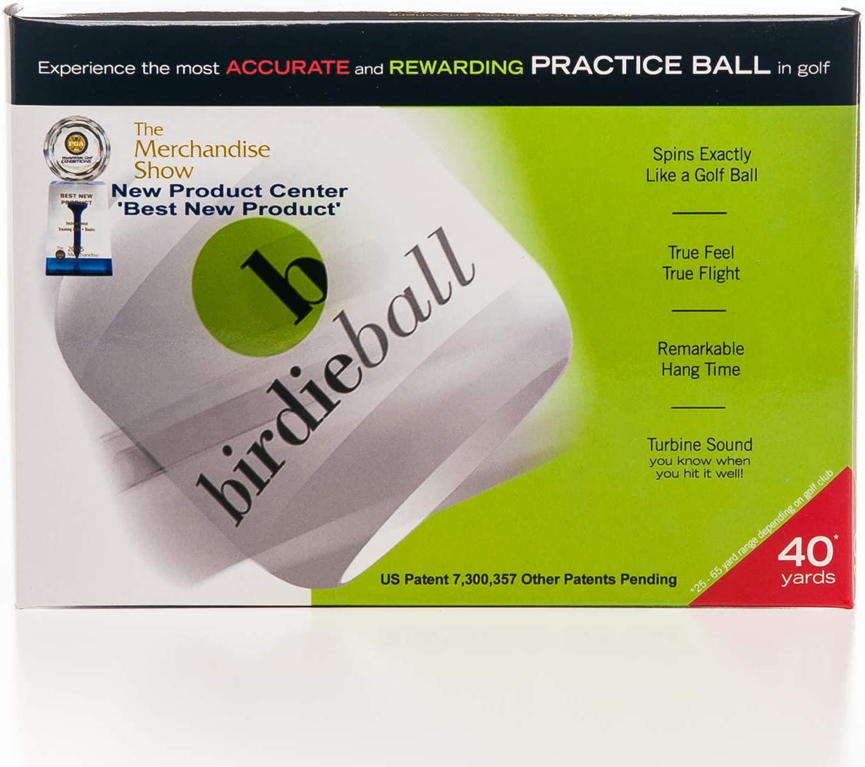 BirdieBall Practice Golf Balls, Full Swing Limited Flight Golf Practice Balls, Perfect Training Aid for All Golfers pack of 12