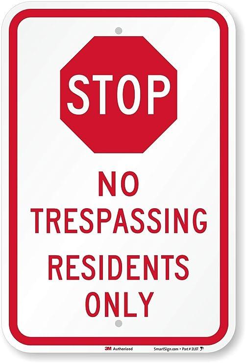 Stop - no trespassing residentes sólo (con símbolo de parada ...