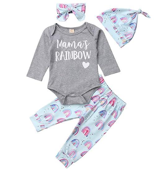 58cbd08a161f Amazon.com  4PCS Newborn Baby Girls Outfit Mama s Rainbow Grey Romper  Bodysuit+ Pants Headband Hat Set Winter Xmas Clothes  Clothing