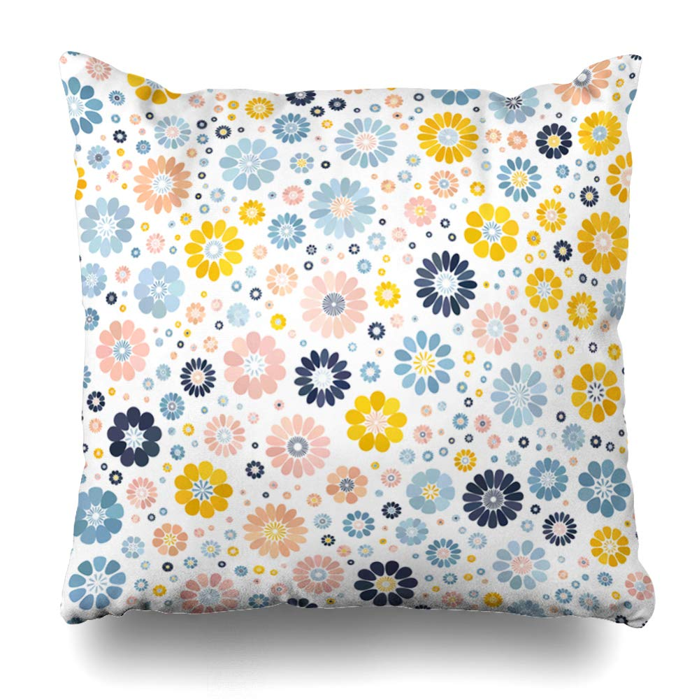 ArTmall Throw Pillow Case Polka Pastel Pink Blue Beige Yellow Gradient Spot Flower Ethnic On White Mid Century Mod Abstract Zippered Pillowcase Square Size 18 x 18 Inches Home Decor Cushion Covers