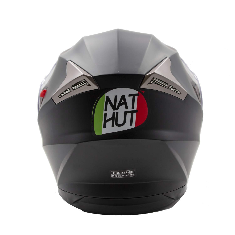 Nat Hut Casque Scooter Modulable Homme Homologu/é ECE Blanc, L NH Casque Moto Modulable Femme Double Visi/ère