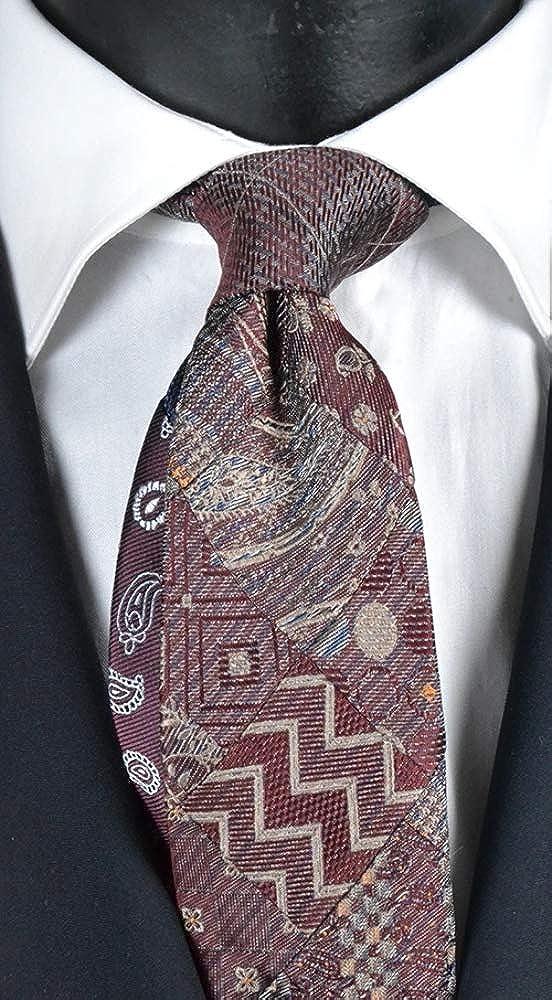 Graffeo - Corbata para hombre, diseño de patchwork, color burdeos ...