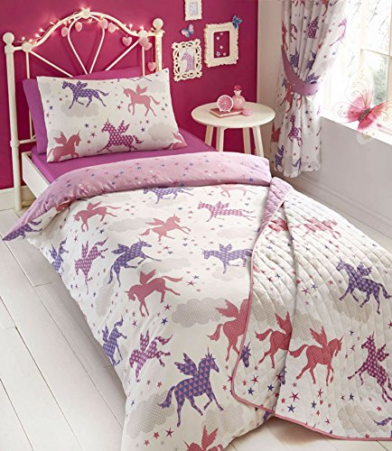KING SIZE Unicorn Duvet Set & Curtains - Girls Unicorns & Stars Bedding (King Set + Curtains 66x54