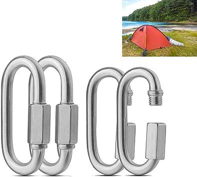 OSUTER 4PCS Acero Inoxidable Mosquetón de Bloqueo Pequeño Mosquetones de Escalada en Forma de D para Acampar Camping Mochila