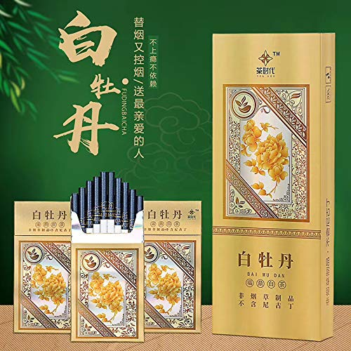 HUWOYMX Green Tea Menthol Cigarettes, Peony Jasmine?Chinese Herbal Cigarettes are Smoke-Free, Nicotine-Free, A Substitute for Cigarettes That Can Clean The Lungs (2 Pack,White Peony)