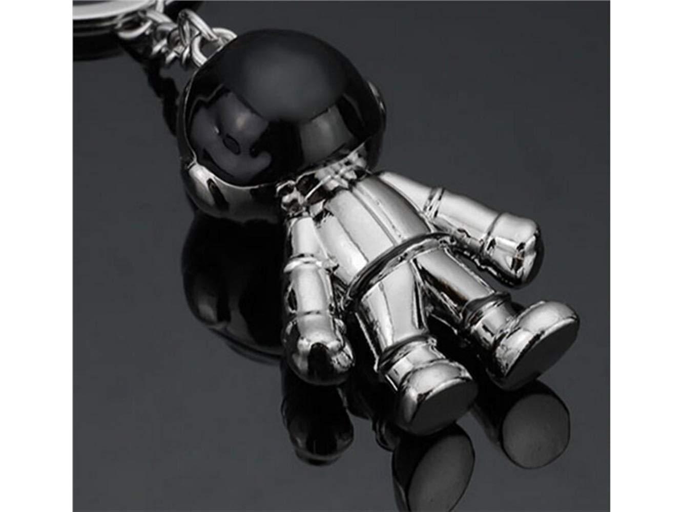 Huertuer keyfob Tridimensionale Astronauta Spazio Robot Pendente Uomini Portachiavi Borsa Decorazione Auto Portachiavi/_Argento Regalo dellamante