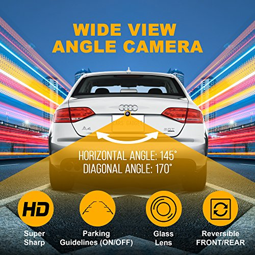Car Backup Camera-Universal-Fits All Vehicles- Front or Rear View Camera Configurable - with Parking Guidelines ON/OFF Option-HD Night Vision-Auto Reverse-Wide Angle Back Up Camera by CARSGADGET