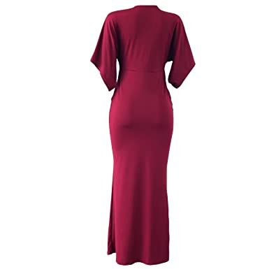 f36b915a83080 VERTTEE V Neck Batwing Sleeve Women s Maxi Dress Loose Bodycon Sexy Party Cocktail  Long High Waist
