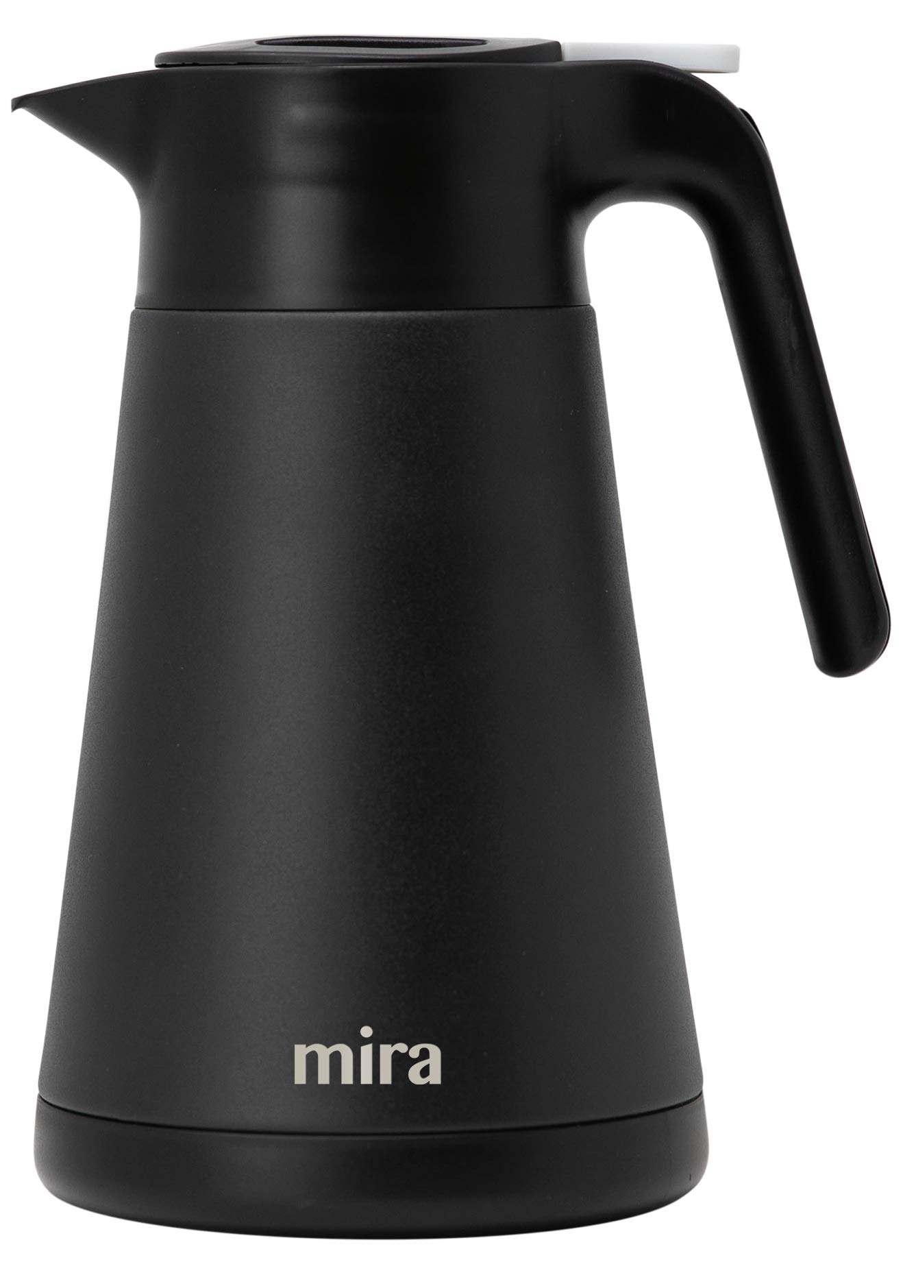 MIRA 40 oz (1.2 L) Stainless Steel Thermal Coffee Carafe | Double Walled Vacuum Insulated Pot | Coffee & Tea Server Stays Hot for 12 Hours or Cold for 24 hours | Black by MIRA
