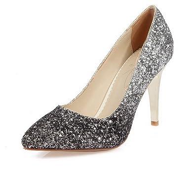 Damen Ziehen auf PU Leder Spitz Zehe Gemischte Farbe Pumps Schuhe, Schwarz, 40 AllhqFashion