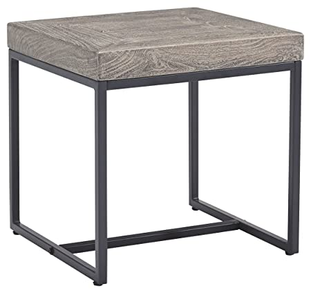 Ashley Furniture Signature Design – Brazin Casual Square End Table – Gray