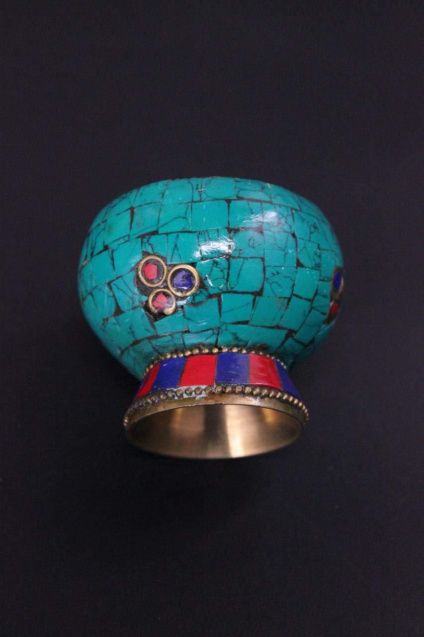 6 cm China Räuchergefäß Kupfer mit Türkisen Asia Deko Schale AsienLifeStyle