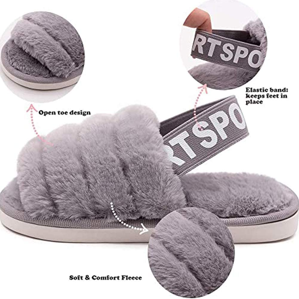 Fadezar Cute Slippers for Girls Warm Plush Home Slippers Kids Fluffy Sliders Slippers Winter Indoor House Shoes