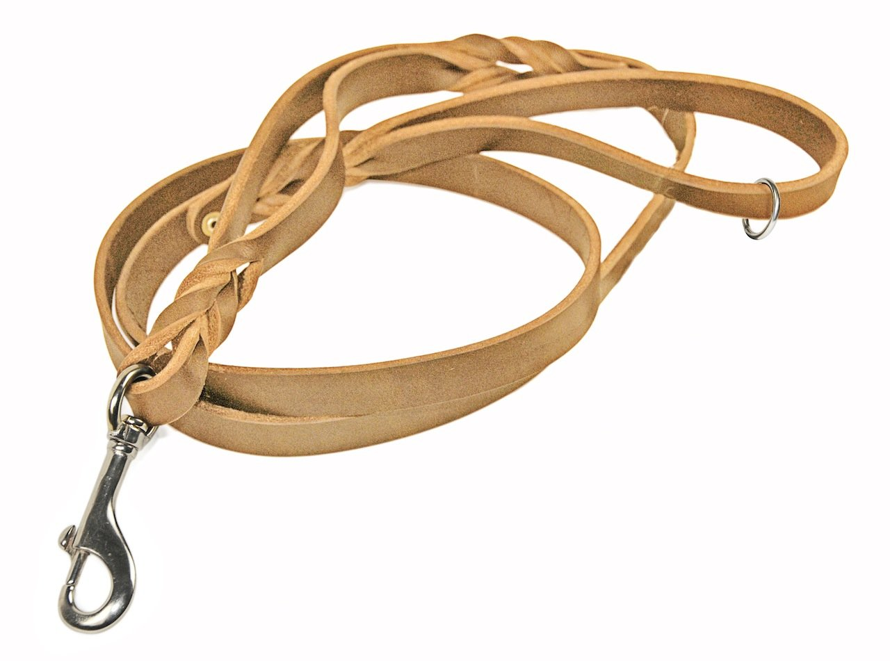 Dean & Tyler Tan Braidy Bunch Stainless Snap Leash with Ring on Handle, 4-Feet by 3 4-Inch