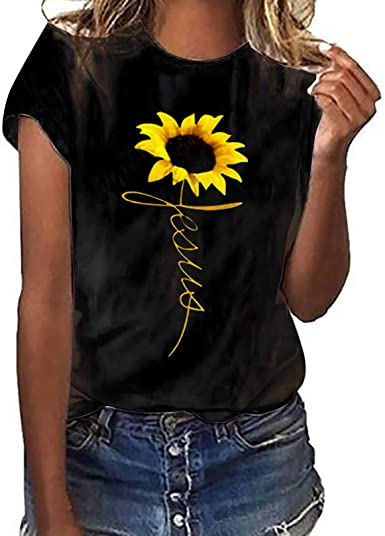 ❤️Women Short Sleeve Sunflower Print Tee Tops Casual Loose O Neck Blouse T Shirt