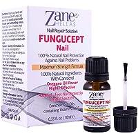 Fungucept Nail Repair Solution para pies y manos. Ideal para uñas descoloridas, engrosadas y rotas. 100% natural y con aceite de orégano. 0.33 oz. – 10 ml de Zane Hellas