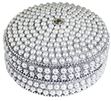 SKAVIJ Handmade Indian Jewelry Gift Box Handmade Round Metal and Beaded Decorative Diameter 4 Inch (White, Diameter - 4 Inch)