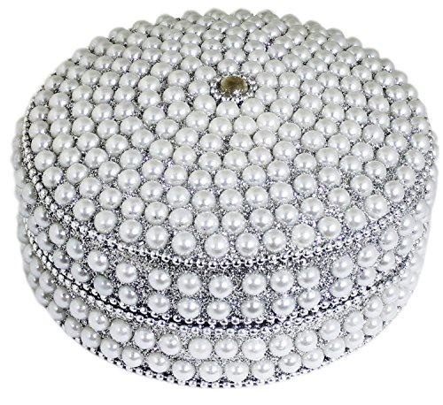 Handmade Womens Jewelry Box Silver Round Beaded for Necklace, Earrings, Ring and Chain -Diameter 4 Inch ()