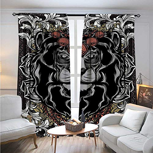Price comparison product image KingBlackout DrapesForest Jungle Emperor Safari Animal Lion with Medieval Design Frame PrintBlackout Curtains Room Darkening Thermal Insulated W108 x L84 Grey White Coral Black