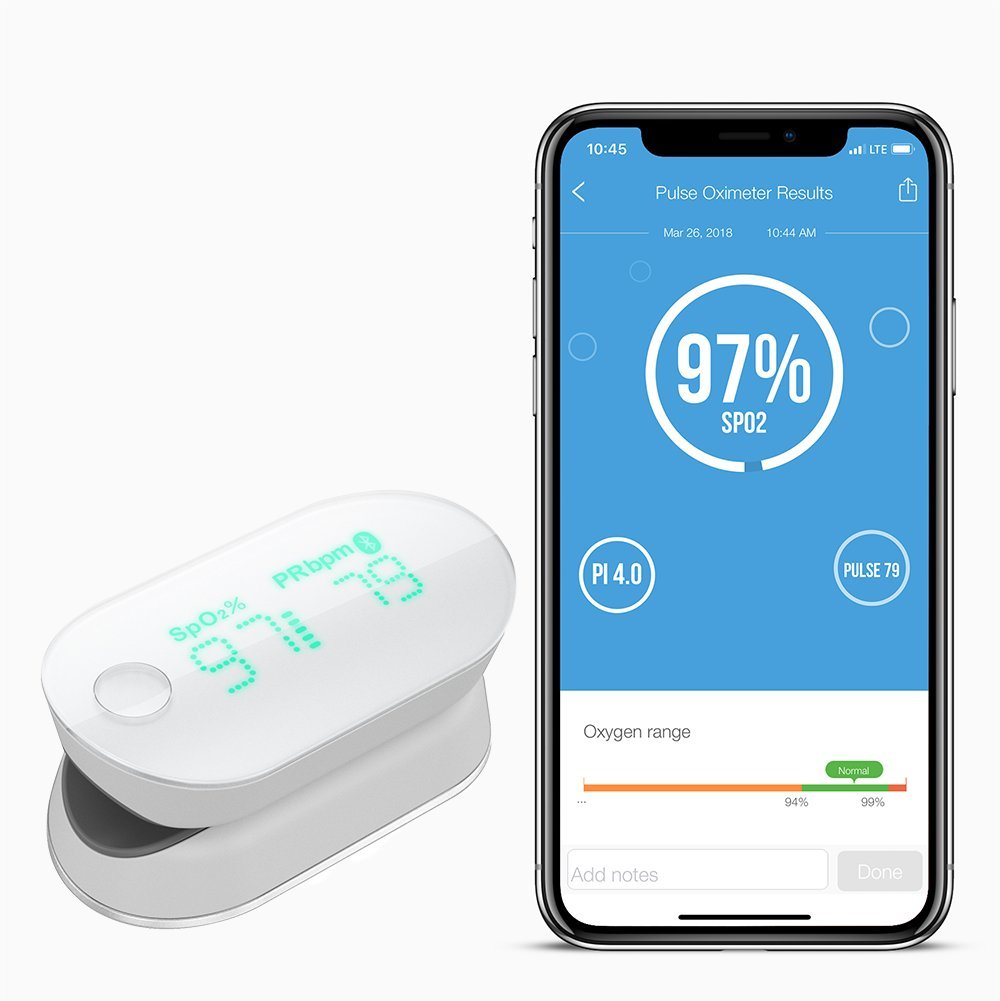 iHealth Air Wireless Fingertip Pulse Oximeter with Plethysmograph and Perfusion Index on the App, Measures Blood Oxygen Saturation, Perfusion Index, Pulse Rate by iHealth