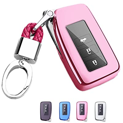 Mofei for Lexus Key Fob Cover - Soft TPU Key Fob Case Protective Sleeve Protector Shell Keyless Remote Control Smart Key Holder Jacket with Key Chain for Lexus RX is CT GS NX ES RC RCF GSF (Pink): Automotive