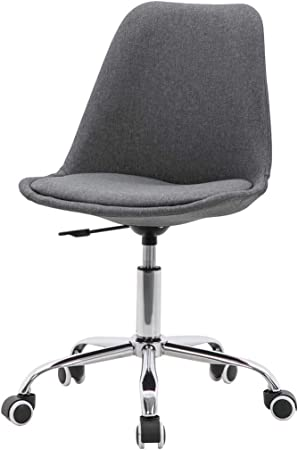 Tulip Office Chair Height Adjustable Linen Fabric Swivel Desk Chair Ergonomic Mid Back Computer Chair Armless Home Office Chairs Grey Amazon Co Uk Kitchen Home