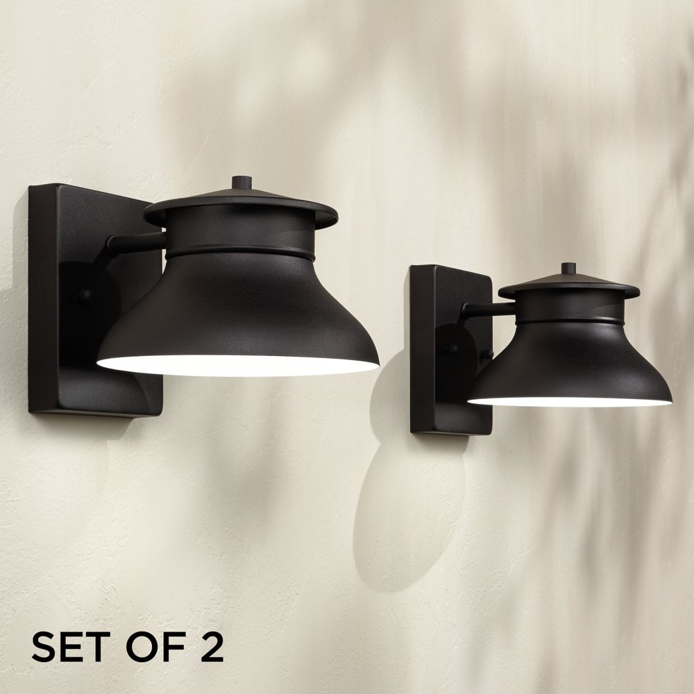 Amazon Com Set Of 2 Danbury Led Black 5 High Outdoor Wall Lights Patio Lawn Garden
