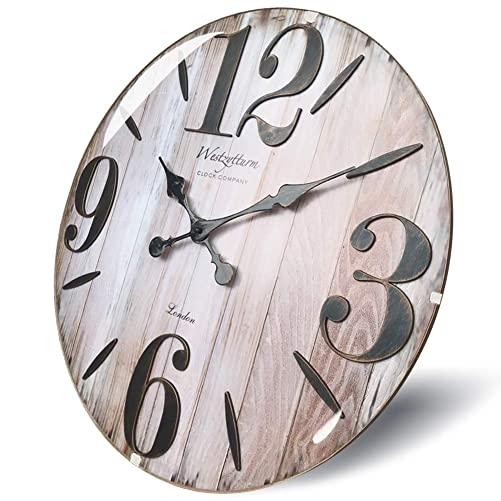 Westzytturm Large Farmhouse Wall Clock Wood 20 inch Big Number Wooden Antique Decorative Round Rustic Clocks for Living Room Bedrooms Kitchen Black