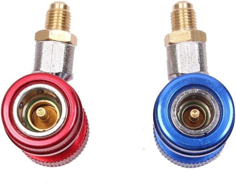 WINOMO Adjustable AC R134A Quick Coupler Connector Adapter High Low 1//4 SAE HVAC
