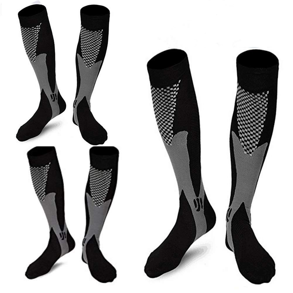 3 Pairs Medical&Althetic Compression Socks for Men, 20-30 mmHg Nursing Performance Socks for Edema, Diabetic, Varicose Veins,Shin Splints,Running Marathon (3Black)
